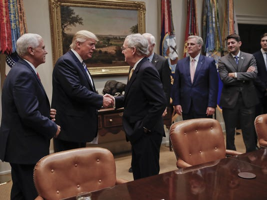 Donald Trump, Mitch McConnell, Paul Ryan, John Cornyn, Kevin McCarthy, Jared Kushner, Mike Pence
