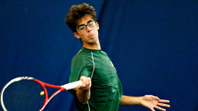 York Catholic's Alberto Bruno has teamed with Michael Andrews to advance to the York-Adams League Boys' Tennis Doubles Tournament semifinals. Dawn J. Sagert  photo