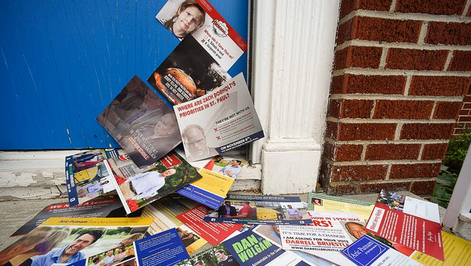 Candidate flyers are arriving daily at homes.
