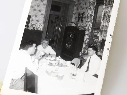 Guy Call with two sons-in law at Christmas, 1959. His home was where his five children's families would gather for holidays and Sunday dinner.
