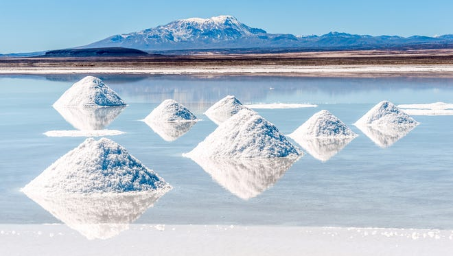 The Salar de Uyuni in Bolivia, a slat flat rich in lithium deposits.