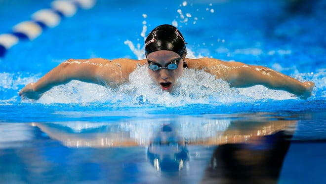 Hali Flickinger swims in a women's 200-meter butterfly semifinal at the U.S. Olympic Team Trials in Omaha, Neb., Wednesday, June 29, 2016.