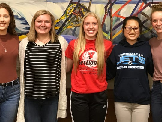 Five Manitowoc-area students are headed to Kamogawa, Japan, for a Sister City Exchange program. Pictured, from left, are Abigail Downey, Valders; Georgia Zutz, Valders; Jordan Skyberg, Valders; Anastasia Vue, Roncalli; and Lydia Hecker, Manitowoc Lutheran.