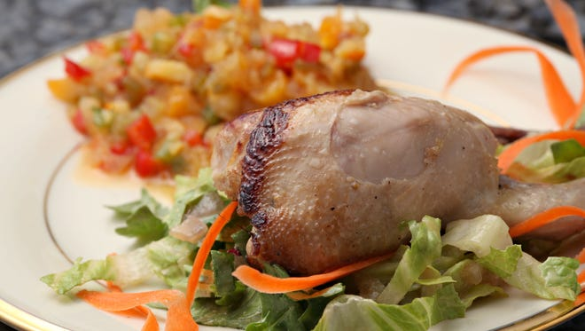 The marinated and roasted quail with spicy orange chutney from Top Home Chef contestant Jo Birlin as seen in Sun Lakes on April, 8, 2015.