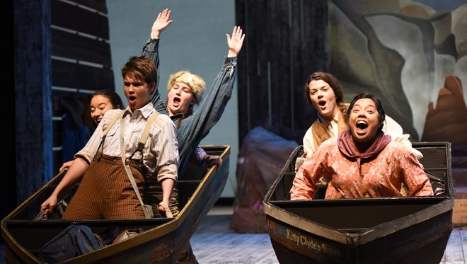 "Rachelle Dart (front left) stars as John Wesley Powell in Arizona State University's production of ""Men on Boats."""