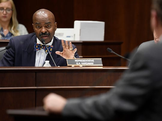 Rep. G.A. Hardaway asks questions during a House Civil Justice Subcommittee meeting in 2018 at the Cordell Hull Building in Nashville.