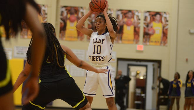 Hattiesburg's Tamia Stinson prepares to make a pass during the game played against Laurel on Friday night in Hattiesburg.