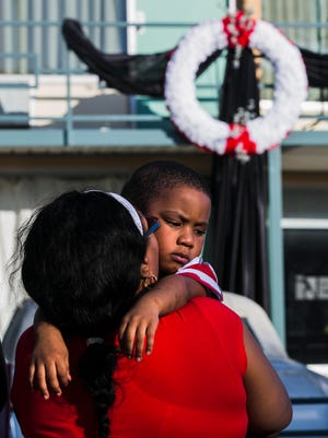 April 4, 2017 - Jocelyn Hall holds her grandson, Quincy Currie, who turns 3 today, following a wreath laying ceremony at the National Civil Rights Museum during the MLK50: Where Do We Go From Here? 6:01 Commemoration on Tuesday. The event was held to remember civil rights leader Dr. Martin Luther King, Jr., 39, who was assassinated as he stood on the balcony, in front of Room 306, 49 years ago today in Memphis.
