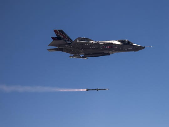 An F-35A Lightning II joint strike fighter completes
