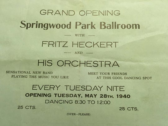 Flyer for the 1940 opening of the Springwood Park Ballroom.