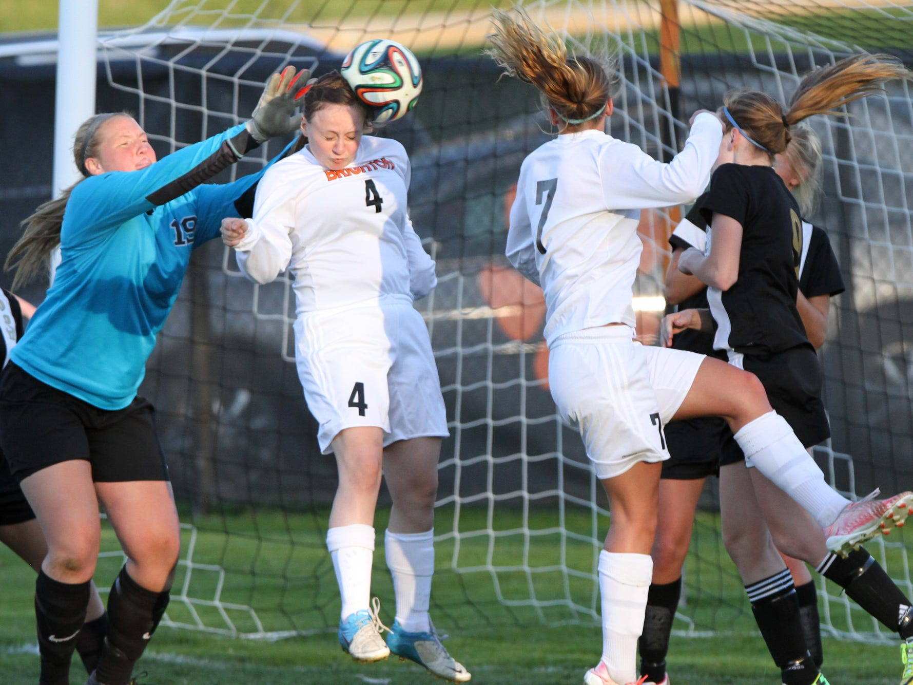 Brighton's Mackenzie Roggenkamp nets the game's first goal against Howell with a header off a corner kick.