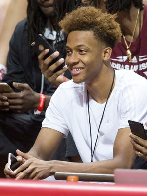 Romeo Langford, an Indiana recruit, during the annual Hoosier Hysteria at Assembly Hall, Bloomington, Saturday, Oct. 21, 2017. The event serves as a public introduction to the Indiana University men's and women's basketball teams.