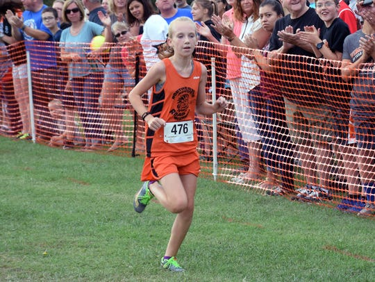 Emma Staley of the North Augusta Running Club heads