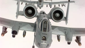In this US Air Force handout photo, two U.S. Air Force A-10A Warthogs, from the 52nd Fighter Wing, 81st Fighter Squadron, Spangdhalem Air Base, Germany, in flight during a NATO Operation Allied Force combat mission, Apr. 22, 1999.