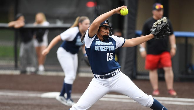 Immaculate Conception vs. Robbinsville in the Tournament of Champions semifinals at Seton Hall University on Wednesday, June 6, 2018. IC pitcher #15 Caylee English.
