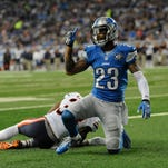 <b>Defensive backs: C+ </b>Detroit Lions cornerback Darius Slay signals after breaking up a play intended for Chicago Bears running back Jeremy Langford on Oct. 18, 2015, in Detroit.
