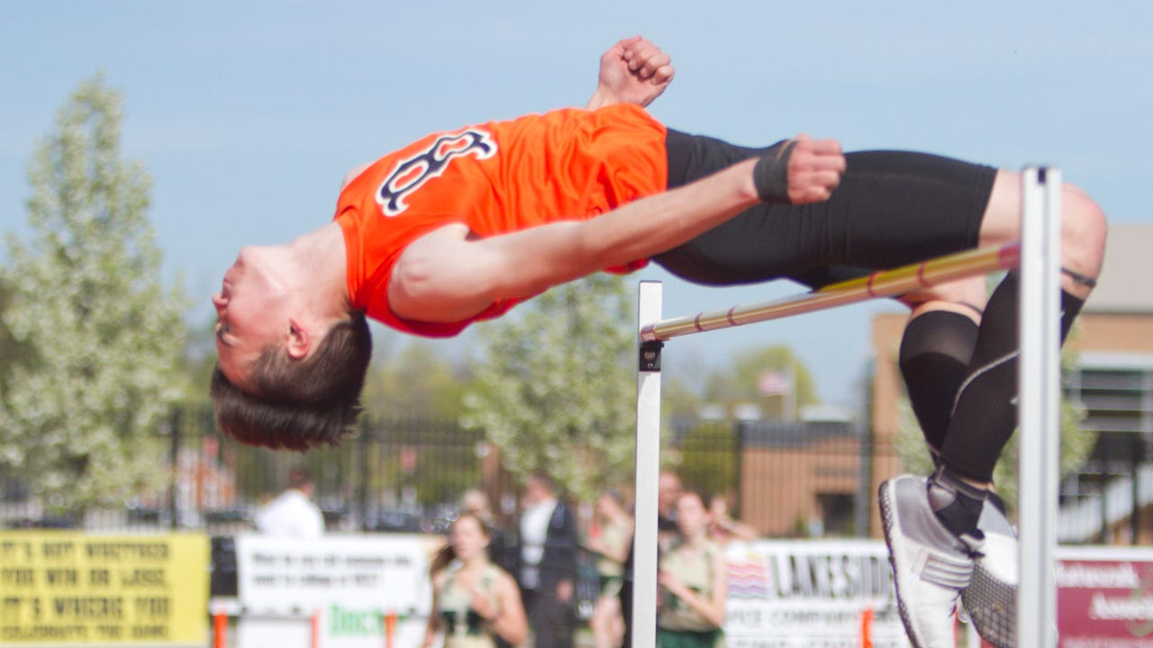 Brighton junior Noah Grimm won the high jump at 6 feet, 2 inches and the long jump at 18 feet, 11 inches in a dual meet against Howell. He talks about learning how to high jump from his mother, a former All-State jumper.