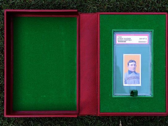 A detail view of T206 Honus Wagner baseball card.