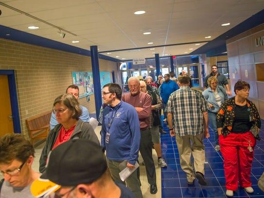 Locals wait in line at Chambersburg Area Senior High