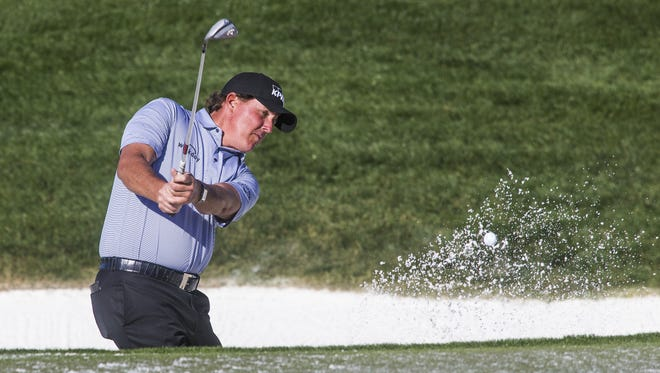 Phil Mickelson practice hitting from the bunker on the 6th hole during the Annexus Pro-Am at the 2018 Waste Management Phoenix Open at TPC Scottsdale, Wednesday, January 31, 2018.