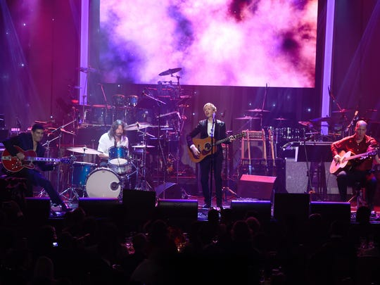 Pat Smear, from left, Dave Grohl, Beck, and Krist Novoselic