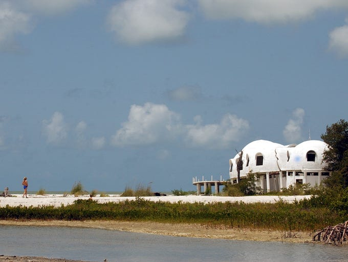 2003. An abandoned dome home on Cape Romano, Fla.,