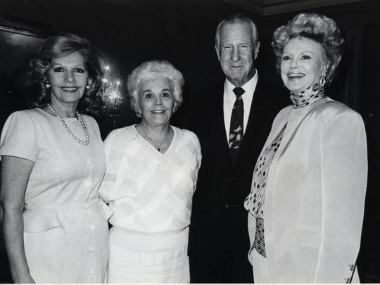 L to R: Mrs. Roger Moore, Judy and former Vice President Spiro Agnew, Barbara Sinatra