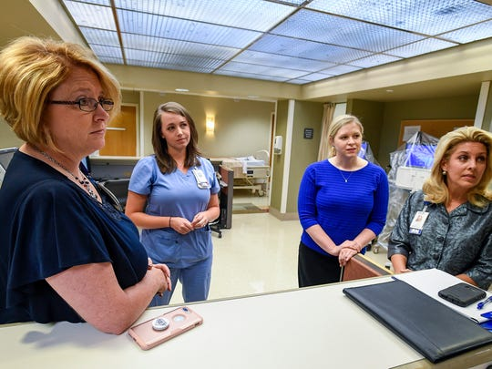 Ginger Henry, Baptist South Chief Operating Officer, from left, Brittany James, Nurse Manager, Mallary Myers, System Vice President, Operational Improvement and Innovation, and Stacy Courson, Nurse Recruiter, Student Coordinator, discuss their nursing backgrounds and the need for nurses at Baptist Medical Center South in Montgomery, Ala. on Thursday May 31, 2018.