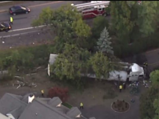 I-95 truck crash aerial