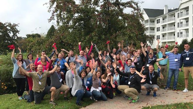 The 2018 graduates of Leadership Oshkosh pose for a photo together.