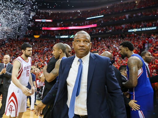 Los Angeles Clippers head coach Doc Rivers walks off