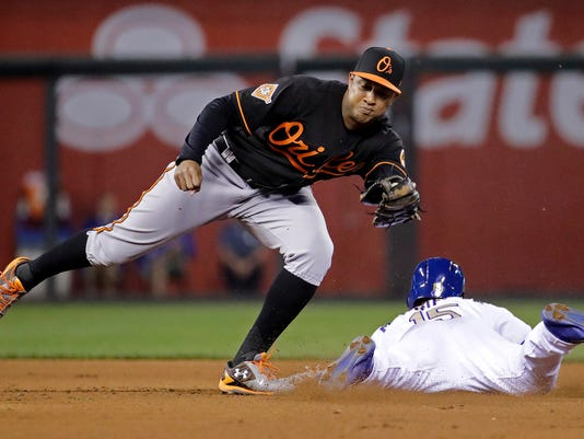 FILE - In this Friday, May 12, 2017 file photo, Kansas City Royals' Whit Merrifield beats the tag by Baltimore Orioles second baseman Jonathan Schoop to steal second during the seventh inning of a baseball game in Kansas City, Mo. The Baltimore Orioles had just one All-Star last season. It wasn't Adam Jones or Manny Machado. It was Machado's close friend, Jonathan Schoop. Besides the All-Star Game appearance, Schoop was voted the team's most valuable player. He hit .293 with 32 home runs and 105 RBIs. (AP Photo/Charlie Riedel, File)