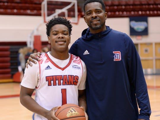 Jermaine Jackson Sr., right, is an assistant coach at Detroit Mercy, where his son, Jermaine Jr., also plays.
