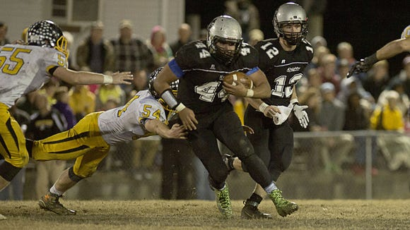 Colby Hemphill (44), shown here in a game earlier this season, scored the winning touchdown for Robbinsville on Friday.