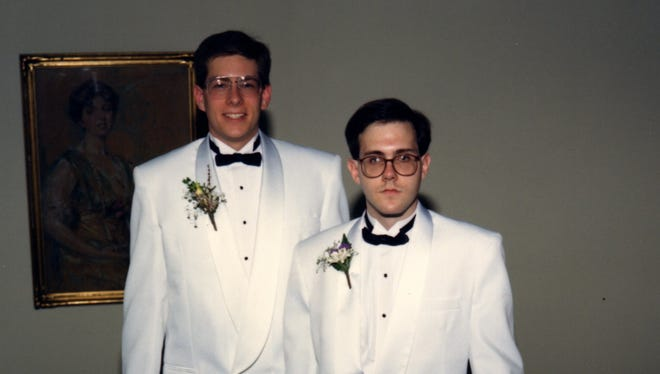 "Harry ""Hal"" Bowman, right, is pictured in August, 1991 before the wedding of his friend Rich Coffeen, left. Bowman, who died Dec. 2 in a shooting in San Bernardino, was Coffeen's best man in the wedding. The two were debate partners at Dallastown Area High School."