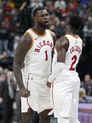 Indiana Pacers Lance Stephenson (1) begins to celebrate with  Darren Collison (2) late in the second half of their game at Bankers Life Fieldhouse, Friday, Nov 17, 2017. The Indiana Pacers defeated the Detroit Pistons 107-100.