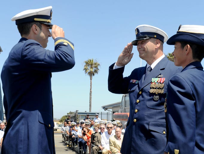 Lt. Thomas Wieland, left, the commanding officer of