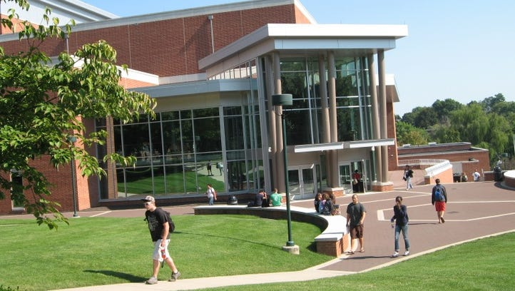 Students milling about the York College campus.