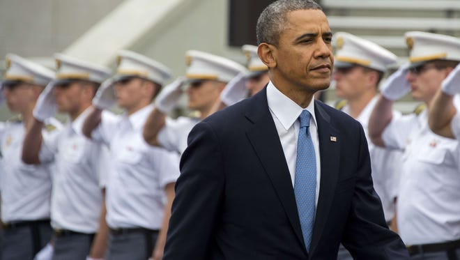 President Obama arrives at the United States Military Academy at West Point, N.Y.,  to deliver the commencement address to the 2014 graduating class.