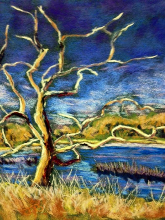 """Crooked Limbs"" by John Baines is among the pastels on display through July 31 in Grove Family Library, Chambersburg."