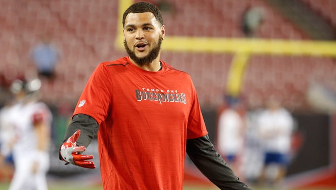 Nov 3, 2016; Tampa, FL, USA;  Tampa Bay Buccaneers wide receiver Mike Evans (13) works out prior to the game at Raymond James Stadium. Mandatory Credit: Kim Klement-USA TODAY Sports