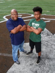 Alex Fitzpatrick, a former New Brunswick football star who played in Snapple Bowl I, with his son Almaliek Fitzpatrick, an East Brunswick graduate who played in Snapple Bowl XXIII.