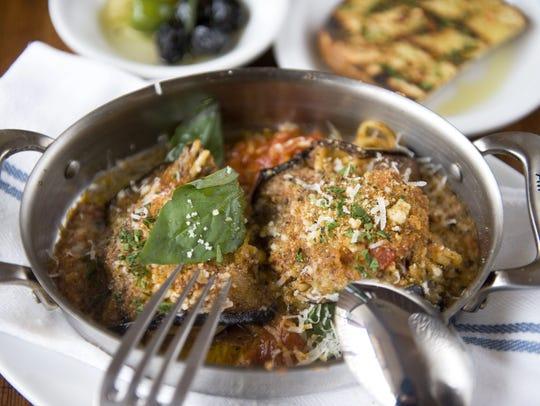Involtini di Melanzane, an eggplant roll-up appetizer,