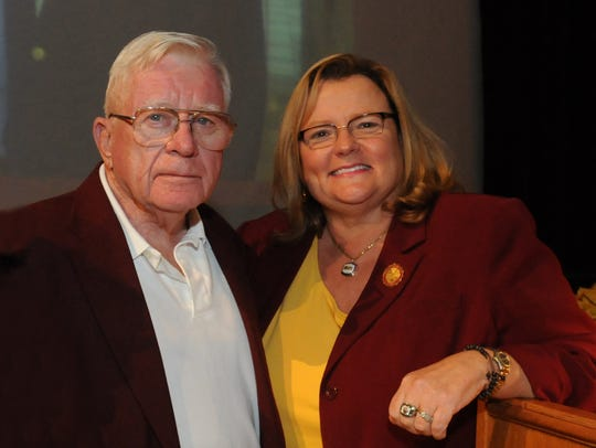 Dr. Norman Crawford poses with SU President Janet Dudley-Eshbach.