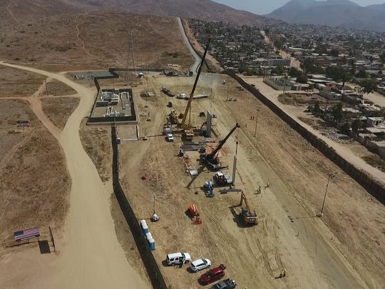 Prototypes of President Trump's proposed border wall near Otay Mesa, Calif., on Oct. 3, 2017.