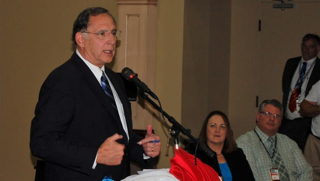 U.S. Senator John Boozman speaks at the ribbon cutting ceremony for the Mountain Home Community Based Outpatient Clinic on Thursday.