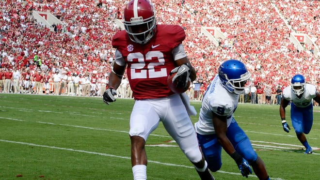 Alabama's Christion Jones scores a touchdown against Georgia State in 2013.