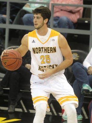 NKU senior Cole Murray gets the ball in the Jan. 22 game against Detroit Mercy.