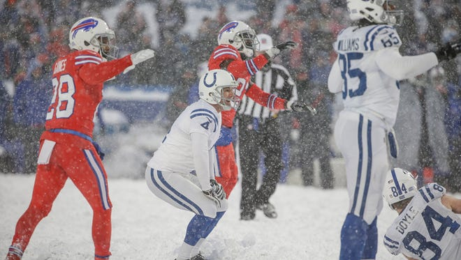 Indianapolis Colts kicker Adam Vinatieri (4) misses a game winning field goal late in the fourth quarter against the Buffalo Bills at New Era Field in Orchard Park, N.Y., on Sunday, Dec. 10, 2017.