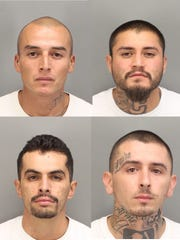 Four suspects were arrested in a Cathedral City shooting. They're identified as (clockwise from upper left): Tomas Zaragoza, 35, of Desert Hot Springs; Andrew Monroy, 23, of Cathedral City; Ricky Ceballos, 25, of Desert Hot Springs and Carlos Rodriguez, 25, of Cathedral City.